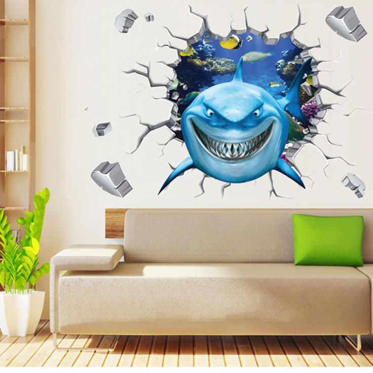 Find More Wall Stickers Information about 3D Shark Wall Stickers for Kids Rooms Wall Stickers Home Decoration Baby Nursery Room Mural Art Decals Wallpaper for Boy Room,High Quality sticker mobile,China wallpaper sticker Suppliers, Cheap sticker sheet from HONG KONG UMEMORY CO., LIMITED on Aliexpress.com