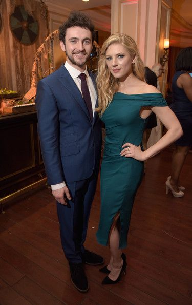 Actors George Blagden (L) and Katheryn Winnick attend the JAN 2015 TCA History Vikings Party on January 9, 2015 in Pasadena, California.