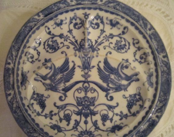 Griffin Plate Blue and White Collectible by LindaBloom on Etsy, $28.00