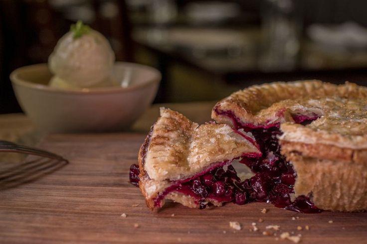 Huckleberry-apple pie with creme fraiche ice cream at Ad Hoc in ...