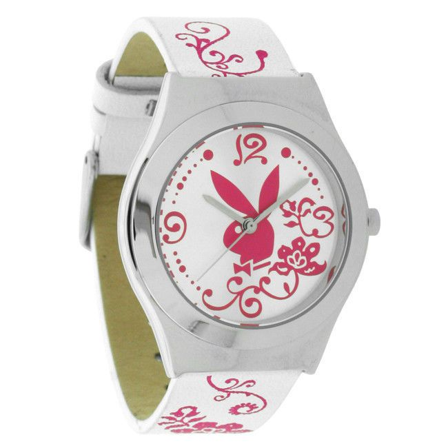 Damen Armbanduhr Playboy Leder  PBH0494SLWHB weiß/rosa