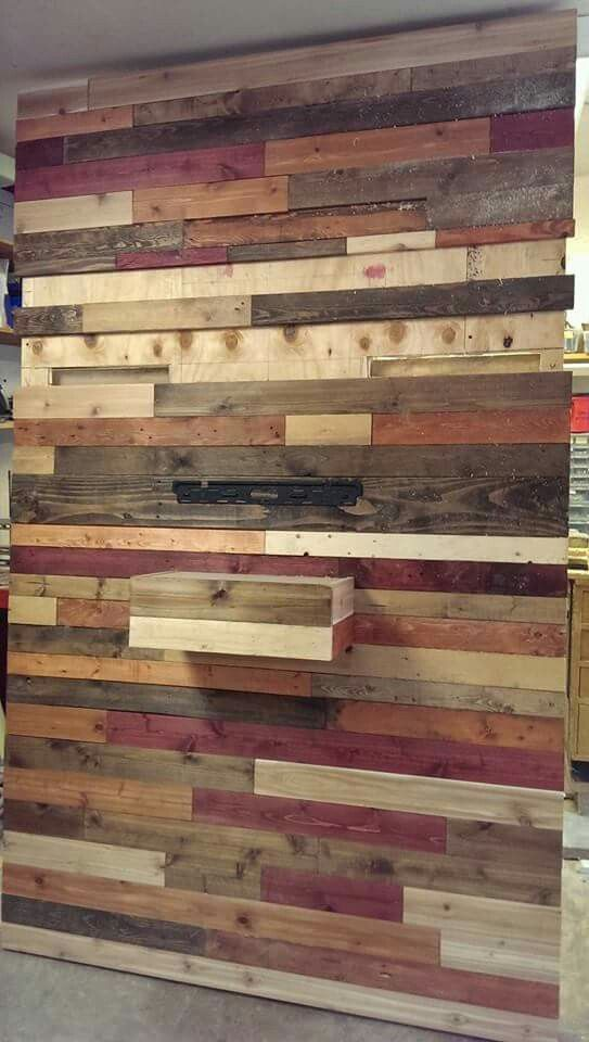 My pallet wall designed to hold my tv and audio stuff too