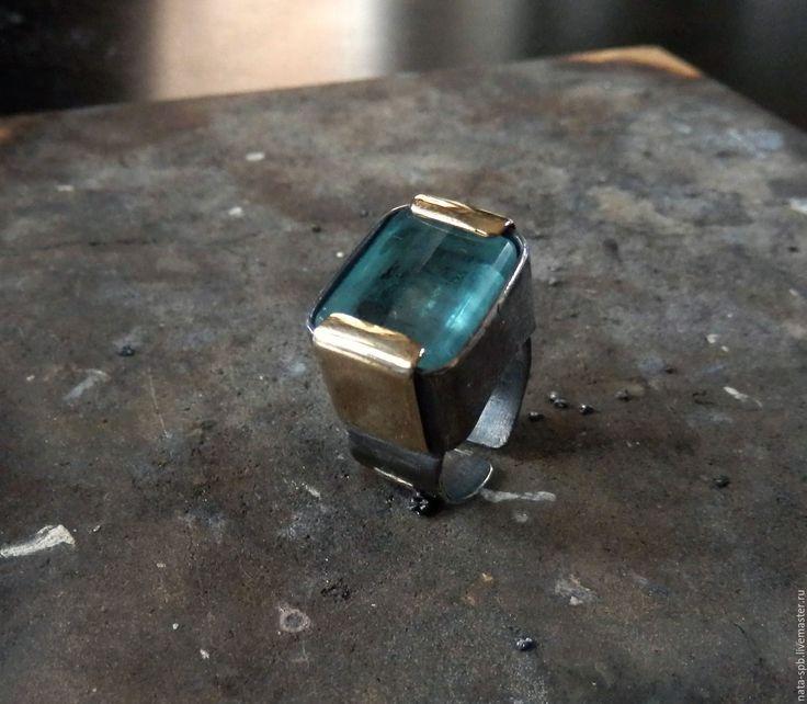 Купить AQUARIUM кольцо (аквамарин, серебро 925, латунь, золото 585) - крупное кольцо