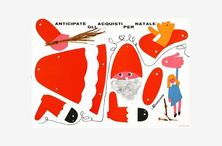 """Natale Rinascente by Lora Lamm. 1957, Poster. A nice poster for LaRinascente featuring an illustration by Lora Lamm showing a dismantled Santa's marionette. The text reads: """"Anticipate the Christmas shopping."""" Printed in Milan by Industria Grafica Ugo Riboldi."""