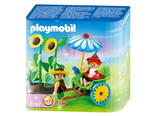Playmobil Rickshaw by Playmobil. $13.99. 5.9 x 5.9 x 2 inches. Playing among the wonderful fairy flower beds is the main reason for the Playmobil Fairy Rickshaw! Beautifully adorned with a leaf seat and flower wheels, the Playmobil Fairy Rickshaw also features a pretty flower umbrella to help make for the most comfortable of rides for these fairy friends. In addition to the fabulous ride, the Playmobil Fairy Rickshaw includes a pretty rose fairy, with an upside down f...