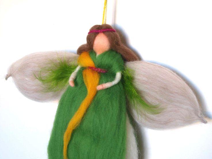 Green feather wool fairy by Philosopher's Joke.