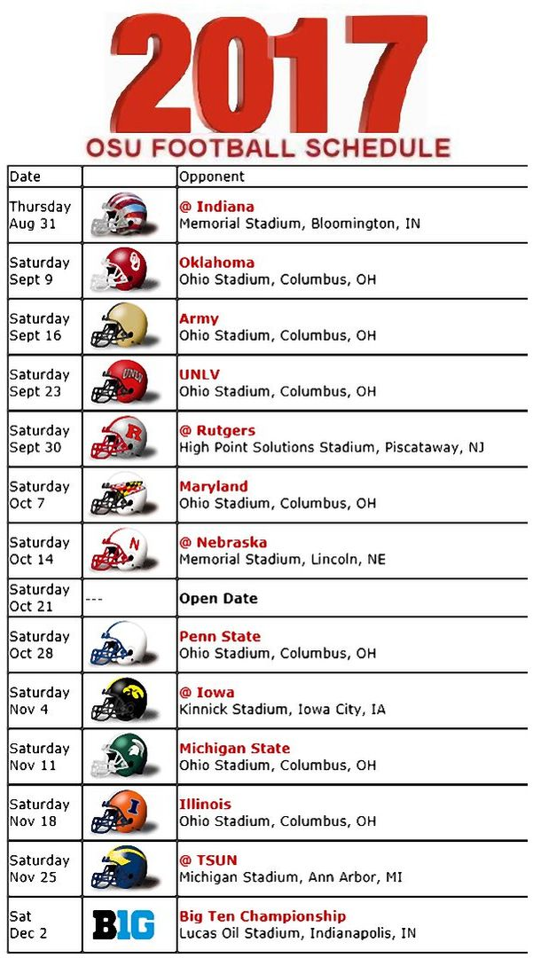 2017 OHIO STATE BUCKEYES FOOTBALL SCHEDULE