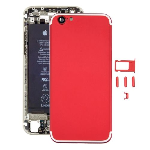 [$20.97] iPartsBuy 5 in 1 Full Assembly Metal Housing Cover with Appearance Imitation of iPhone 7 for iPhone 6, Including Back Cover (Big Camera Hole) & Card Tray & Volume Control Key & Power Button & Mute Switch Vibrator Key(Red)