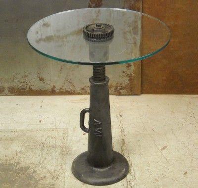 Vintage Screw Jack Side Table Repurposed Furniture In