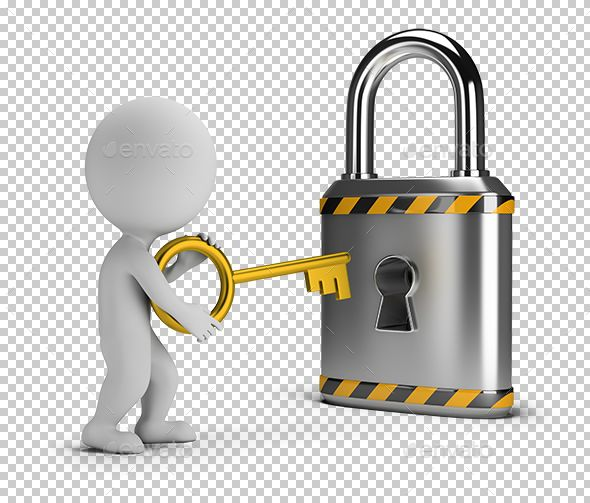 3d Small People Opens The Lock Lock Person Png Design