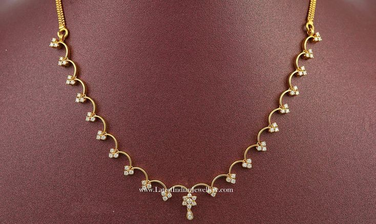 Simple Diamond Necklace Designs in 1 Lakh | Latest Indian Jewellery Designs