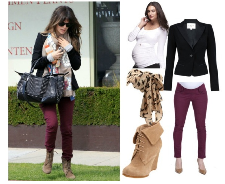 Who says you can't be trendy while pregnant! Maternal America Plum Skinny Ankle Jean & Isabella Oliver White Scoop Top