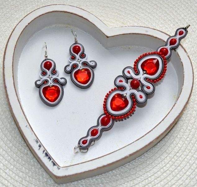 komplet sutasz bransoletka kolczyki czerwony szary w Galeria Paratiisi na DaWanda.com