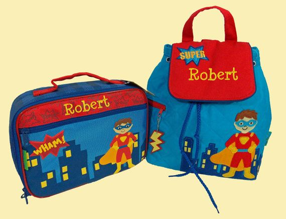 Child's Personalized Stephen Joseph SUPER HERO  by DeerpathDesigns