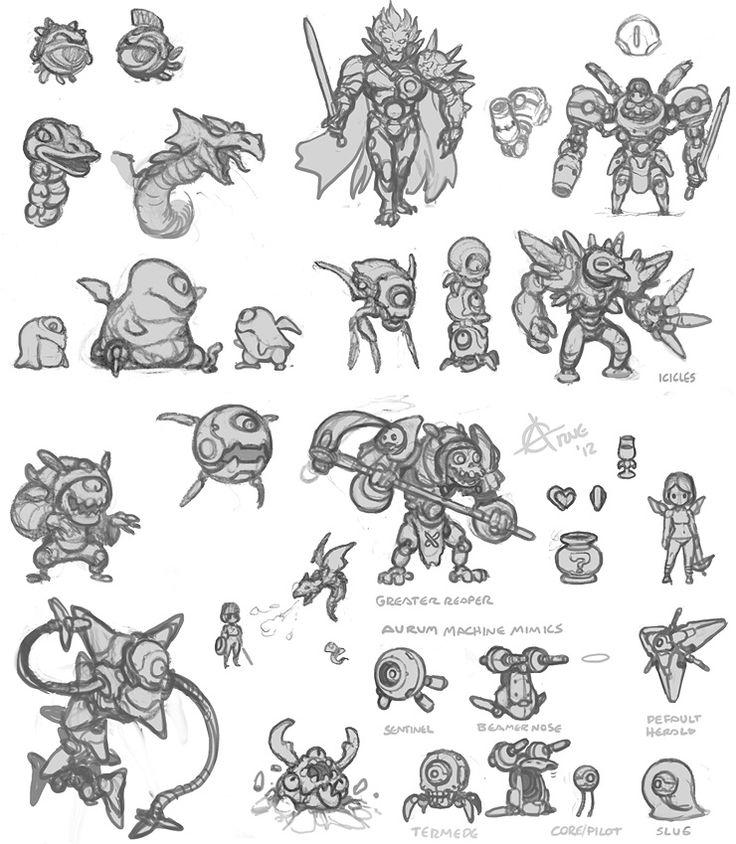 Kid Icarus Pencil Character Designs