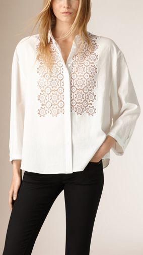 Lace Detail Oversize Cotton Linen Shirt