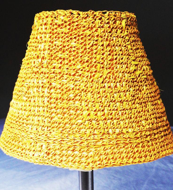 Paper cord and raffia lampshade