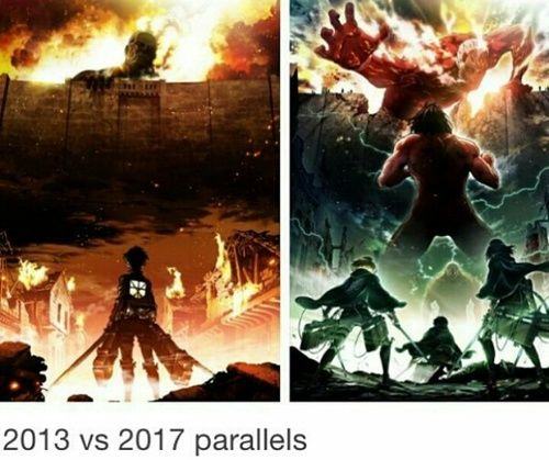 Ok, so the first time I saw this, it was described as the Colossal Titan fighting a different Titan, with Armin, Mikasa, and Eren on the ground watching, and I was like…isn't that Eren's Titan form?? Like am I wrong, or…?? .-.