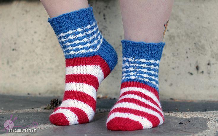 Patrioottiset popot naisen villasukat amerikka jenkkisukat tähtikuvio tähtilippu USA