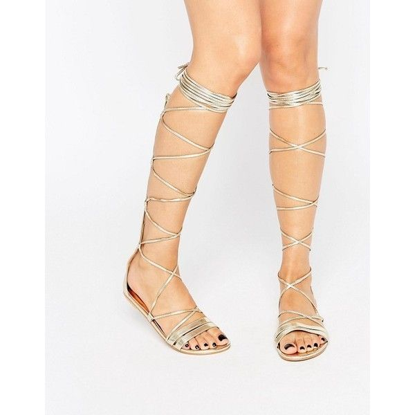 Daisy Street Lace Up Gladiator Flat Sandals ($17) ❤ liked on Polyvore featuring shoes, sandals, strappy flat sandals, gladiator sandals, metallic gladiator sandals, strappy sandals and flat gladiator sandals