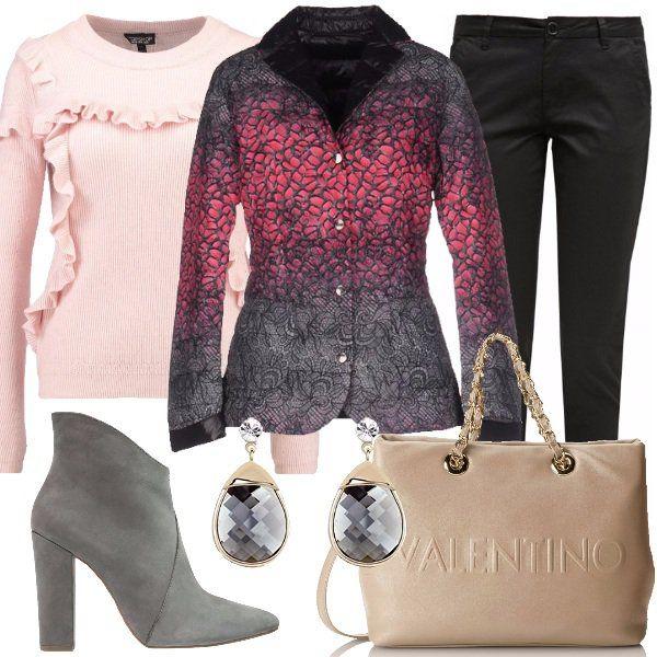 Outfit+delizioso+con+piumino+double+face+in+tessuto+tecnico+e+piuma+d'oca,+da+indossare+come+un+blazer.+L'ho+abbinato+a+chino+slim+black+e+a+maglione+pink+con+scollo+tondo.+Ho+scelto+inoltre+stivaletti+a+punta+dark+grey+con+tacco+alto+ma+quadro,+borsa+con+tracolla+nude+e+orecchini+in+cristallo+austriaco.+Bello+per+l'ufficio+e+il+tempo+libero.