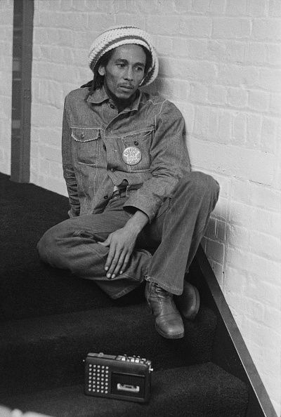 **Bob Marley** Offices of Island Records, London, UK, July 24, 1975. More fantastic pictures, music and videos of *Bob Marley* on: https://de.pinterest.com/ReggaeHeart/ ©Michael Putland/ www.gettyimages.de