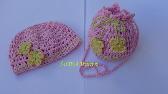 Handmade crochet soft pink beanie and bag with by tatocka on Etsy