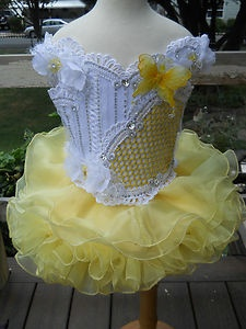 Sunny Yellow Glitz National Pageant Dress, OOAK, Size 4-5-6   eBay