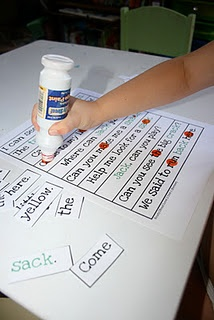 Sight word activity- put a pile of cut up sight words face down, as you turn a word over find the word on the sheet and mark it with a dot.