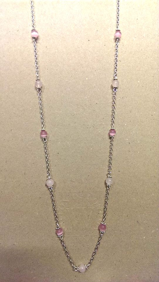 Cats eye & Rose quarts Necklace