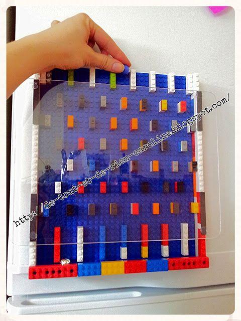 De tout et de rien: Activités pour le Préscolaire: Créer un jeu de bagatelle et un labyrinthe avec des briques de construction Lego. Create a magnetic Plinko game and a labyrinth of Legos
