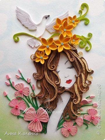 Pintura dibujo mural de hadas flores de papel de Quilling banda foto 1