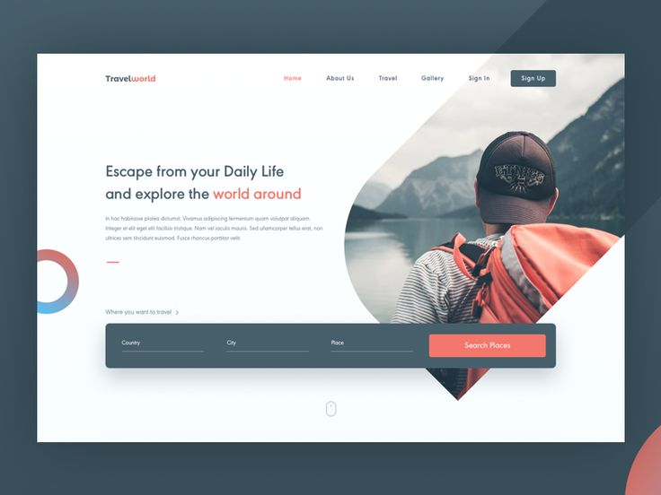 -extension of photo past edge of frame-   Travel World UI Concept by Aby Abraham