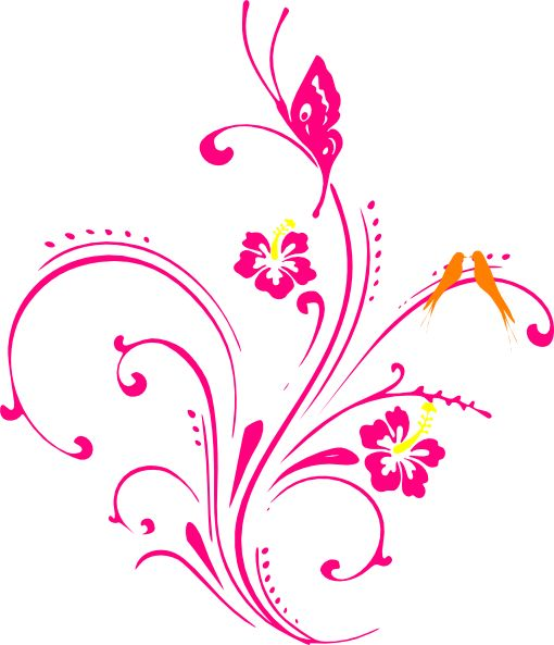 Flower and butterfly border clip art - photo#36