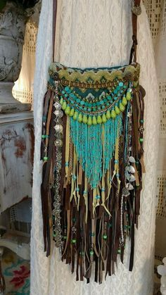 Handmade Fabric Brown Leather Fringe CrossBody Bag Hippie Boho Hobo Purse tmyers #Handmade #MessengerCrossBody