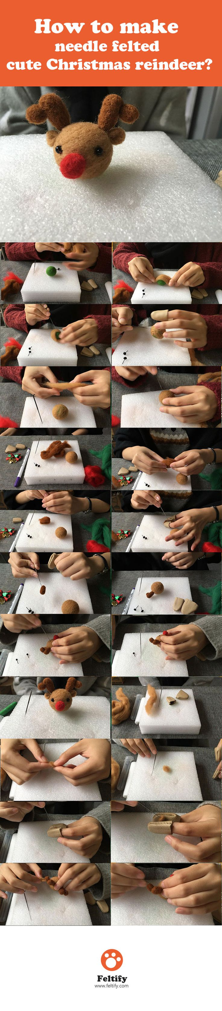How to make needle felted cute Christmas reindeer(Needle felting tutorial for beginner starters project)