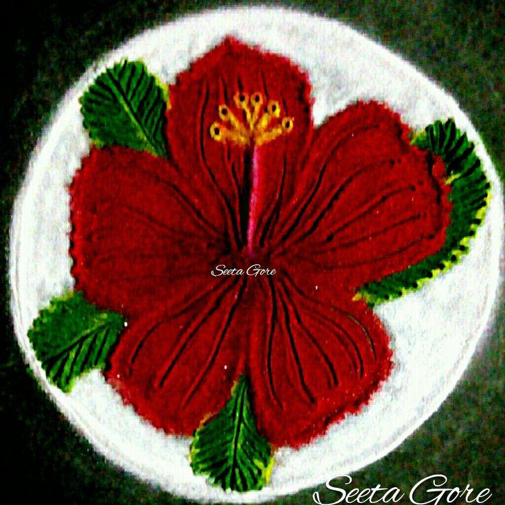 My rangoli......my art..... Simple....flower .....rangoli.....