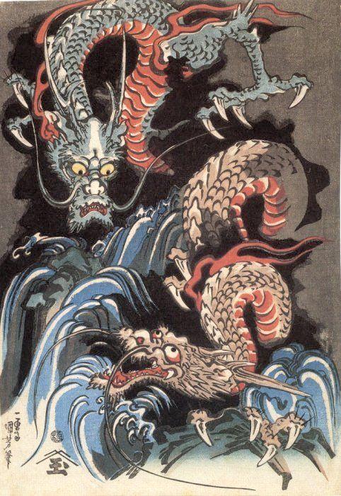 Two dragons by a waterfall. Date: c. 1831 Publisher: Morita-ya Hanzô