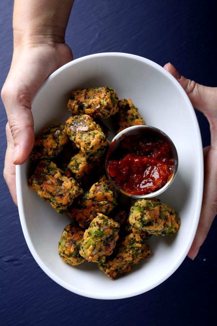 Broccoli Tots + Quick Curry Ketchup