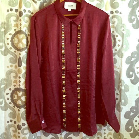 Burgundy top Stylish long sleeve burgundy top. Beaded down front. Eureka by Christos Garkinos Tops