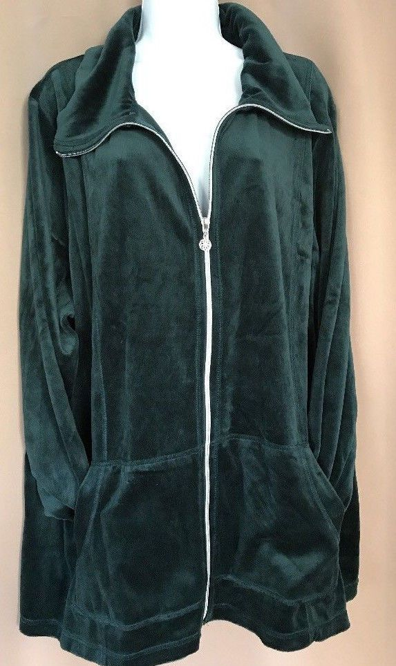 218b187ab2d Catherines Women Green Velour Zip Front Sweater Jacket Plus Size 4X 30 32   Catherines  Sweatercoat  any