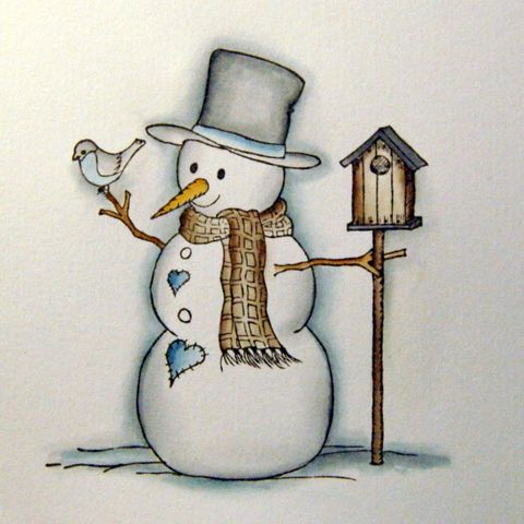 Henrikka Card Creations:  Tutorial - Coloring Snowman with distress ink but shading would work with other mediums