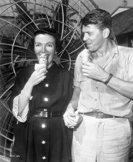 Nancy Reagan and Ronald Reagan enjoying some ice cream on the set of Tropic Zone