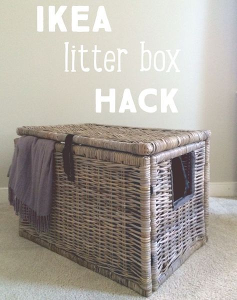 super easy ikea hack turn wicker chest into a secret litter box hide out pet things. Black Bedroom Furniture Sets. Home Design Ideas