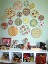 @Gretchen Brummel, This would be easy to do with scrap book papers to tie your colors together: Pattern, Color, Scrap Books, Kid Rooms, Decor Kids Rooms, Decorating Kids Rooms, Embroidery Hoop, Great Ideas, Books Paper