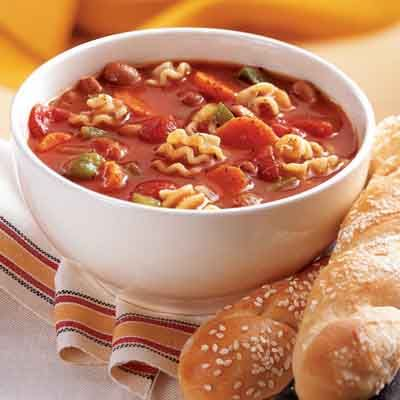 Quick Minestrone This nutritious soup recipe is the one to use when there is little time to cook.