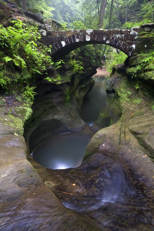 """Devil's Bath Tub is a fascinating piece of streambed in the Upper Gorge area of the Old Man's Cave unit of Hocking Hills State Park in southeastern Ohio. """