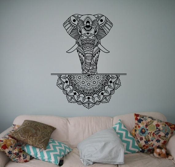 Indian Elephant Vinyl Decal Mandala Patterns Wall Sticker Asian Home Wall Interior Ethnic Indian Ornament India Culture 14(elp)