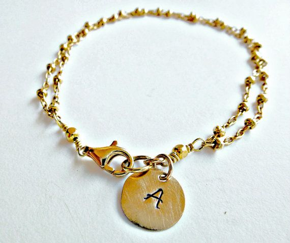 Delicate, minimalist initial charm, gold bracelet, double chain bracelet, gift for her. So Cool Charms‬. ‪#Minimalist‬  #‪‎jewelry‬. #Bracelets. Just because less is more. https://www.etsy.com/shop/SoCoolCharms
