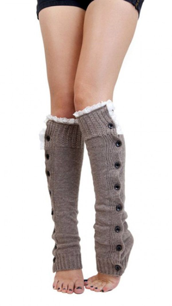 Warm Taupe Button Down Leg Warmers. Best socks that go under your tall boots I've seen so far! Perfect color, love the fringe on top, and the buttons are adorable!